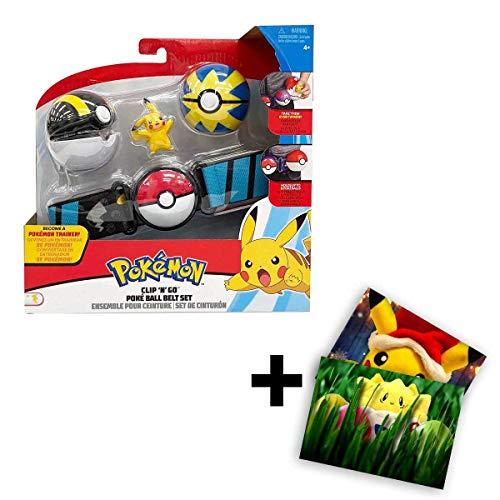 Lively Moments Pokemon Gürtel für Kinder mit 2 Pokebällen & Figur Pikachu / Kindergürtel für Pokebälle / Spielzeug / Clip n Go Gürtel + Exklusive GRATIS Grußkarte