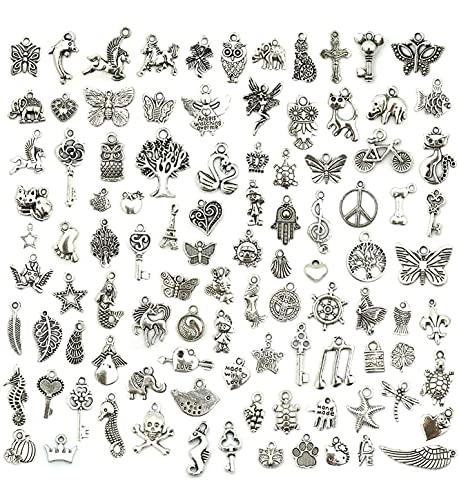 150 Stücke Charm anhänger schmuck basteln,Charm anhänger antik Silber,schmuckanhänger Charms,Charm anhänger gemischt,Charm anhänger DIY für Ohrringe Halskette Armband