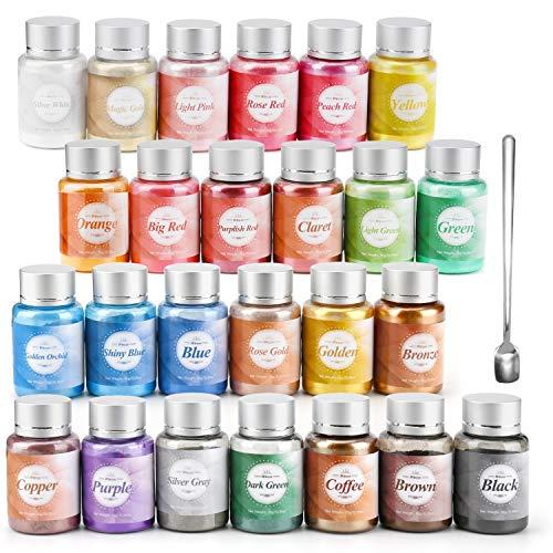 Wtrcsv Epoxidharz Farbe Mica Pulver 250g(25er×10g), Epoxidharz Farbe Metallic Farben Pigment, Pigmentpulver Farbpigmente Farbe Farben für Epoxidharz Resin, 25 Farben in Flaschen