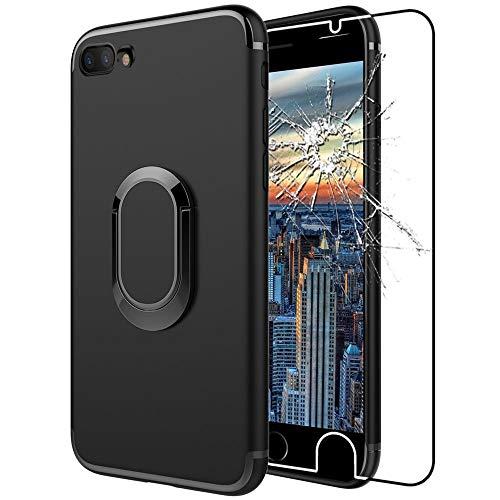 ebestStar - Funda Compatible con iPhone 7, iPhone 8 Carcasa Silicona Anillo Soporte, Giratoria 360 Grados, Case Cover, Negro + Cristal Templado [Aparato: 138.3/138.4 x 67.1/67.3 x 7.1/7.3mm, 4.7'']