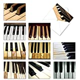 Assortment of Thank You Cards 4 x 5.12 inch with Envelopes - 'Keynotes' Greeting Cards Featuring Photos of Piano Keys - Music Note Card Set M3016