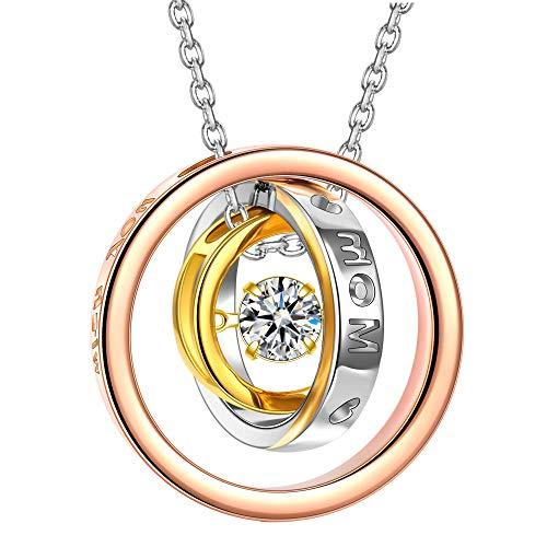 Kami Idea Halsketten für Frauen Silber 925 Antibakteriell Ringe Anhänger Rosegold Damen Kette Geschenke für Frauen Weihnachten Schmuck Damen Geburtstagsgeschenk für Frauen Mama Partner Geschenke