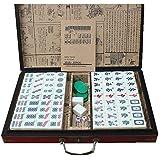 ANZRY Jong Holder Portable MAh-Jong Travel Family Leisure Juego De Mahjong Profesional Chino con Estuche De Madera