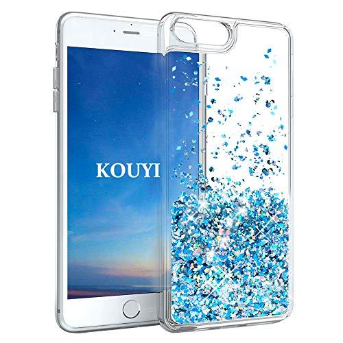 KOUYI Cover iPhone 8/7 Plus, 3D Glitter Chiaro Liquido Silicone TPU Telefono Cellulari Protezione Cover,3D Bling Protettiva Case Custodia per Apple iPhone 8 Plus/iPhone 7 Plus (Blu Argento)