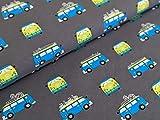 Baumwolljersey Bus Holiday Grau Stoff Meterware