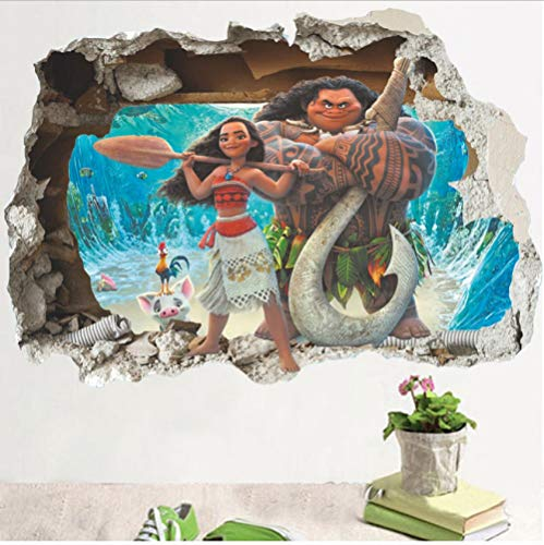 3D Effekt Moana Durch Wandaufkleber Für Kinderzimmer Cartoon Movie Vaiana Wandtattoos Pvc Moana Maui Poster Diy Tapeten 50 * 70 Cm
