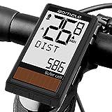 Qomolo Compteur de Vélo sans Fil, Solaire Ordinateur de Vélo étanche Multifonctionnel Compteur Kilométrique Vélo,Compteur de Vitesse avec Rétroéclairage LED