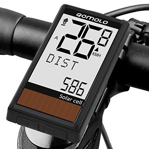 Qomolo Fahrradcomputer Solar, LCD Fahrradcomputer Kabellos Bicycle Computer 19 Funktionen, IPX6 Wasserdicht Radcomputer Wireless Kilometerzähler Fahrrad Tachometer für Radsport Speed Distan