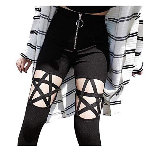 Laisla fashion Leggings A Vita Alta Calzamaglia Punk Classiche Star Gothic Pantaloni di Compressione delle Donna Leggings Pantaloni con Chiusura Lampo (Color : Schwarz, Taglia Unica : M)