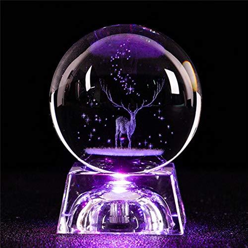IADZ Caja de música con forma de luna de cristal, caja de música luminosa de madera giratoria creativa para decoración del hogar