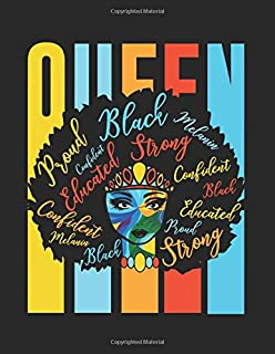 """Black Queen African American Pride Power Love: College Ruled Notebook Paper and Diary to Write In / 120 Pages / 8.5""""x11"""""""