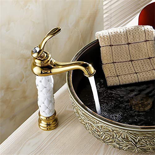 YHSGY Waschtischarmaturen Waschtischarmaturen Euro Gold Waschtischarmatur Luxus Hoch Bad Waschtischarmaturen Einhand Waschtisch Einlochmischer Wasserhähne