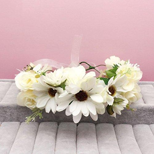 & Coiffe des fleurs de la Couronne Couronne de fleurs, Bandeau Fleur Garland Fête de mariée à la main à la main Fait bande Bandeau Bracelet Bande de cheveux couronne de couronnes de fleurs ( Couleur : D )