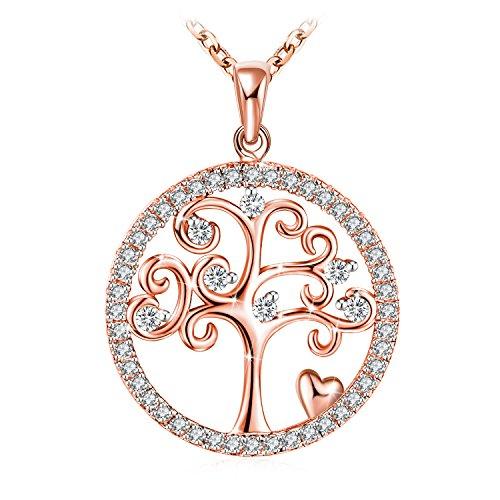 J.Rosée 高品質ネックレス 「生命の樹」 ペンダント レディース シルバー925 ジルコニア アレルギー対応 ローズゴールド 女性や女の子へのギフトに最適