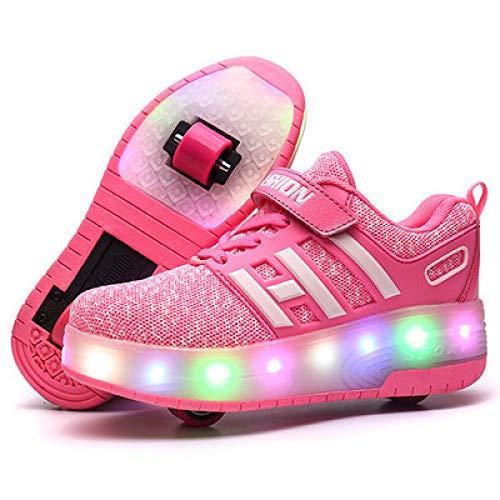 Sunflower Rollschuh Schuhe Kinder Jungen Mädchen LED Licht Mesh Schuhe Einstellbare Mode Turnschuhe Outdoor Cross Trainer Inline Rollschuhlaufen,Pink-41