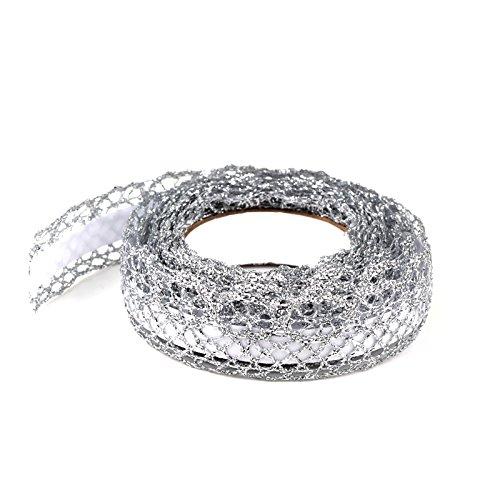 Simplydeko Selbstklebende Spitze (selbstklebendes Spitzenband, Spitzen-Tape selbstklebend) (Silber)