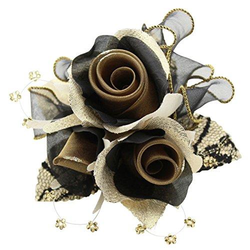 [鎌倉工芸] 巻き バラ 3輪寄せ クリップ付き フラワー フォーマル コサージュ ブラック ゴールド