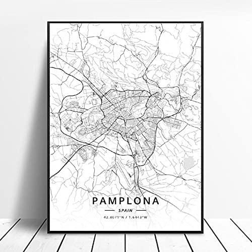 linbindeshoop Elche Pamplona Vitoria-Gasteiz Madrid Albacete Santander Oviedo España Lienzo Arte Mapa Póster (LQ-181) 40x60cm Sin Marco