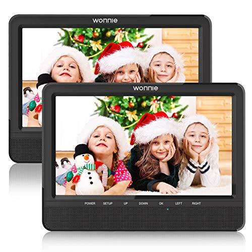 WONNIE Lecteur DVD Portable Voiture pour Enfant 2 de 10,1 '' pour Prise en Charge USB/SD, AV in/Out, accompagnateur en Voiture pour la Famille(1 Lecteur DVD et 1 Moniteur)