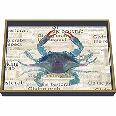 Paperproducts Design Wooden Serving Tray Displaying Best Blue Crab Design, 16 x 12 , Blue