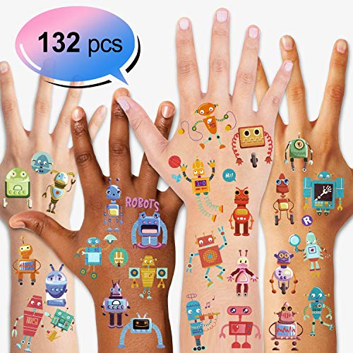 Konsait Kids Tattoos Robot Temporary Tattoos for Girls Boys Children's Birthday Party Bag Filler Gift Idea Party Favors, 132PCS
