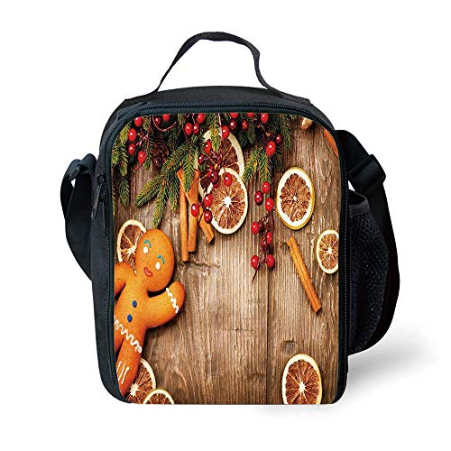 MLNHY School Supplies Gingerbread Man,Rustic Composition with Holly Berry Orange Slice Cinnamon And Biscuit Decorative,Brown Orange Red for Girls or Boys Washable