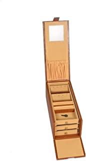 Stones Bridge Genuine Leather Exclusive Locker Jewellery Storage Vanity Box for Women (Tan)