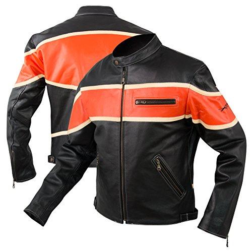 A-Pro Giacca Moto Pelle Custom Bikers Motociclista Chopper Stile Arancione L