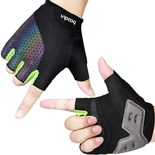 HASAGEI Fahrradhandschuhe, Halbfinger-Gelhandschuhe, MTB-Handschuhe, rutschfeste, dünne, atmungsaktive Reflexionssporthandschuhe für Herren / Damen