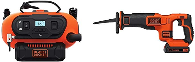 BLACK+DECKER BDINF20C 20V Lithium Cordless Multi-Purpose Inflator (Tool Only) with BLACK+DECKER BDCR20C 20V MAX Reciprocating Saw with Battery and Charger