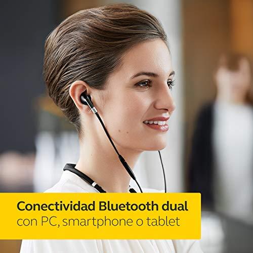 Jabra Evolve 75e MS - Auriculares Inalámbricos Certificados por Microsoft, Batería de Larga Duración, Cinta Vibratoria para el Cuello y Luz