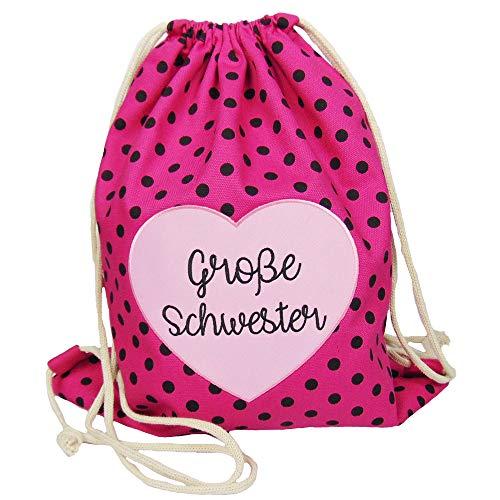 Partybob Kinder Rucksack Beutel Große Schwester mit Herz (Pink-gepunktet)