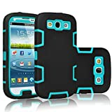 Tekcoo Galaxy S3 Case, [Troyal Series] [Black/Blue] Hybrid Shock Absorbing Shock Dust Dirt Proof Defender Rugged Full Body Hard Case Cover Shell for Samsung Galaxy S3 S III I9300 GS3 All Carriers