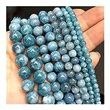 YUXIN Zhaochen. Natural Stone Scuro Calcedonio Blu Branelli Rotondi della Giada Perle Distanziatore for Monili Che Fanno Braccialetti Handmade (Size : 8mm (approx 46pcs))
