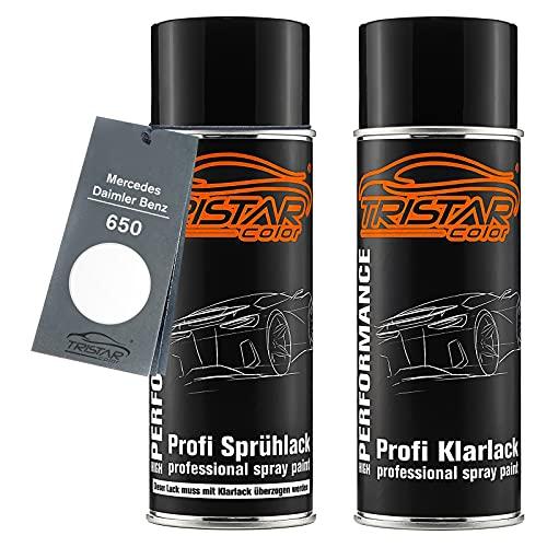 TRISTARcolor Autolack Spraydosen Set für Mercedes/Daimler Benz 650 Calcitweiss/Zirrusweiss Basislack Klarlack Sprühdose 400ml