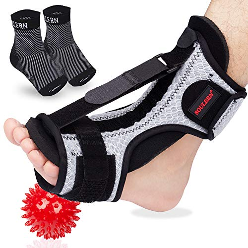 Plantar Fasciitis Night Splint Foot Drop Orthotic Brace with Plantar Fasciitis Socks & Foot Massage Ball for Effective Relief from Plantar Fasciitis Pain, Achilles Tendonitis