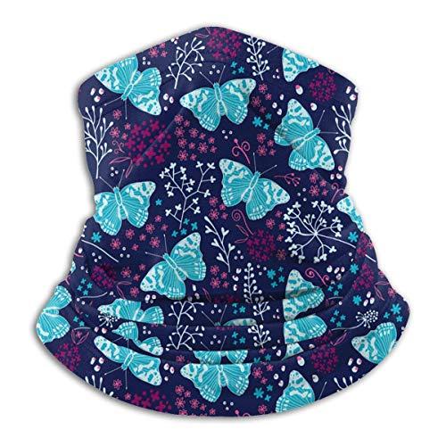 Lawenp Mariposas azules de agua con flores de polar, calentador de cuello, bufanda a prueba de viento, pañuelo, cara, cuello, polaina, actividades al aire libre