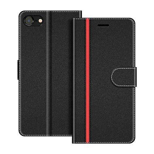 COODIO Handyhülle für iPhone 8 Handy Hülle, iPhone 8 Hülle Leder Handytasche für iPhone 7 / iPhone 8 Klapphülle Tasche, Schwarz/Rot