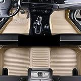 Alfombrillas de coche personalizadas Alfombras de pie delanteras traseras de cuero PU Alfombras antideslizantes de cobertura total para Maserati Quattroporte 2013-2019,Beige