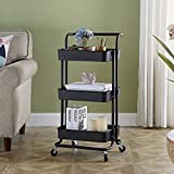 Household Storage Trolley, Utility Cart with Wheels, 3 Tier Rolling Cart, Service Trolley Cart, Mobile Storage Cart, Removable Utility Organizer Cart, Craft Cart for Kitchen, Office, Bathroom, Black