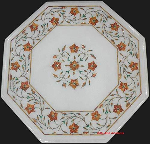 Gifts And Artefacts Table de Chevet en marbre Blanc Piétra Dura Art avec Pierres Semi-précieuses de cornaline 30,5 cm