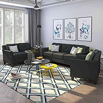 Cotoala 3 Piece Living Room Sofa Set Upholstered Sectional Couch Set One Three-Seat Chair & Loveseat and Armchair  1+2+3   Black