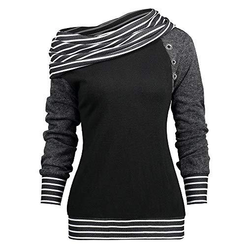 Damen T-Shirt Mode Frau Schräglage Hals Lange Ärmel Gestreift Patchwork Taste Sweatshirt Frühling/Herbst/Winter Oberteile