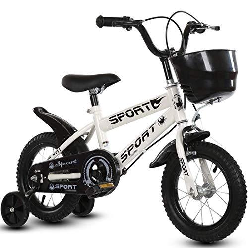 """Balance Bike für 2-6 Jahre 12\""""und 14\"""" Kinderfahrrad mit Stützrädern und Pedalen aufblasbarem Gummireifen und verstellbarem Lenkersitz weiß 14 Zoll"""