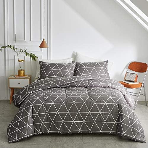 FlySheep 3 Piece King Geometric Grey Triangles Look Like Black Comforter Set Simply Style Hotel product image