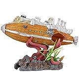 Pssopp - Decoración de resina para acuario o acuario, diseño de nave y pulpo