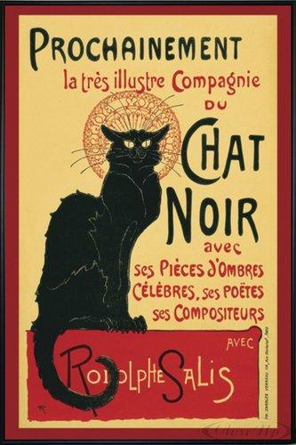 Close Up Le Chat Noir Poster (93x62 cm) gerahmt in: Rahmen schwarz