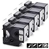 Wonfoucs Compatible Label Tape Replacement for DYMO 18489 Industrial Flexible Nylon Label Tape Compatible with DYMO Label Maker, Rhino 5200 4200 5000 6000, Black on White, 3/4-in x 11.5 ft, 5 Pack