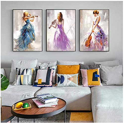 Canvas Wall Art Prints Hd Abstract Girl Paintings Ballerina Modern Pictures For Living Room Posters 30x40cm (11.8