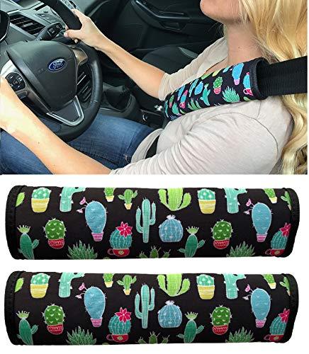 2x Kaktus Auto Gurtschutz Sicherheitsgurt Schulterpolster Schulterkissen Autositze Gurtpolster für Kinder und Erwachsene - HECKBO